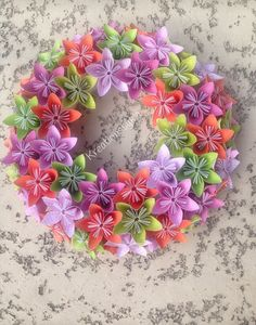Origami Paper Flower Spring Wreath / wedding decorations