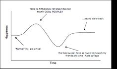 The Experience Curve pretty helpfully displays the initial ups and downs of early college life. Like this if you can relate to one of the points on the graph currently.