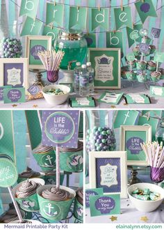 Mermaid Printable Party Kit for Bridal Showers by EnchantedType on Etsy (Inspired by Disney's The Little Mermaid) EnchantedType.Etsy.com