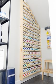 Check out my small, under-the-stairs, and super organized craft and storage closet!