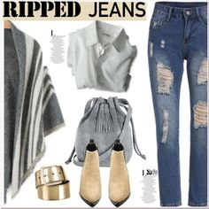 Style This Trend: Ripped Jeans by paculi on Polyvore featuring moda, Acne Studios, Warehouse, Miu Miu, rippedjeans and shein