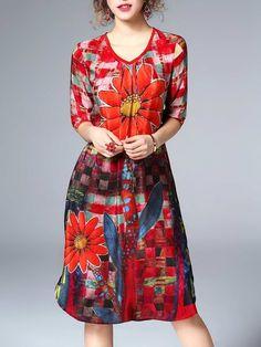 Shop Midi Dresses - A-line 3/4 Sleeve Silk Floral Casual Midi Dress online. Discover unique designers fashion at StyleWe.com.