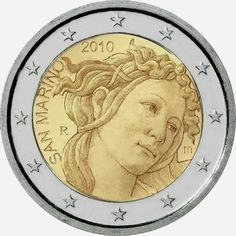 2 Euro Commemorative Coins San Marino 2010 Anniversary of the death of Sa Piece Euro, Euro Coins, Gold And Silver Coins, Commemorative Coins, World Coins, Coin Collecting, Sandro, Character Art, Death