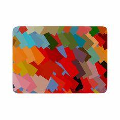 "Matthias Hennig ""Playful Rectangles"" Red Orange Memory Foam Bath Mat"