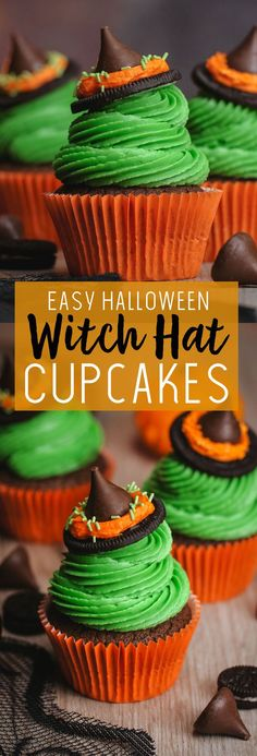 Easy to make witches hat cupcakes for Halloween Fun Halloween Treats, Halloween Desserts, Halloween Cupcakes, Halloween Ideas, Halloween Foods, Halloween Crafts, Happy Halloween, Halloween Party, Cupcake Recipes