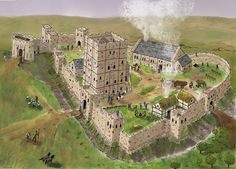 © Newcastle Keep in the 12th Century by Mark Hoyle