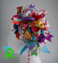 Candy ott bow Funky loopy bow Crazy hair bow by RoshelysBowtique