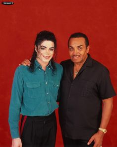 Michael Jackson in 1992 backstage of the Dangerous Tour with his father Joe