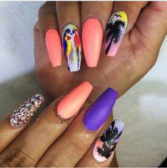 Beautiful summer nails  Matte purple nail polish and coral nail polish  Hawaiian palm trees nail art  Bird nail  Clear beads  #nails