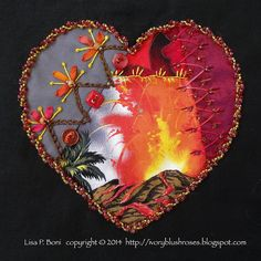 2014.09.26LPBoniforThaliaHeartDYBRR | Lisa P. Boni | Flickr Crazy Quilt Stitches, Crazy Quilt Blocks, Crazy Quilting, Crazy Heart, Quilt Stitching, Blush Roses, Learn To Crochet, Pin Cushions, Textile Art