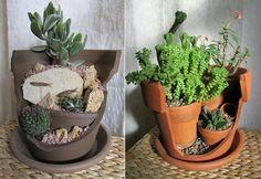 Vasos reciclados.  Aproveitar um vaso partido para fazer um mini-jardim :)