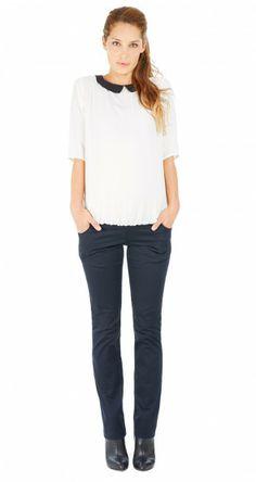 Pantalon droit 5 poches bandeau haut // Classic 5 pocket maternity pants with over belly support by Envie de Fraises  #pants #trousers #pantalons #maternity #fashion #maternité #mode #futuremaman #enviedefraises