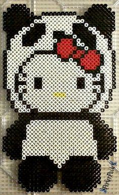 Panda Hello Kitty perler beads by PerlerPixie