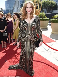 Top talent: Christina Hendricks arrived at the Emmy Awards on Sunday in Los Angeles in a black and gold sequin dress Beautiful Christina, Gold Sequin Dress, Hottest Redheads, Christina Hendricks, Woman Crush, Celebrity Style, Sequins, Celebs, Actresses