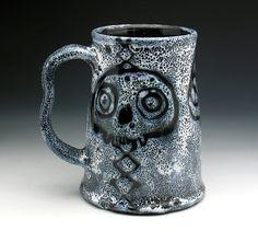 Zombie Skulls Large Mug, XL Super Spotted Skull Beer Tankard