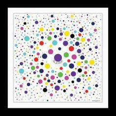 """TWILL SILK SCARF - BUBBLE GEOMETRIC - Multicolor - 27x27"""" - BB70MC"""