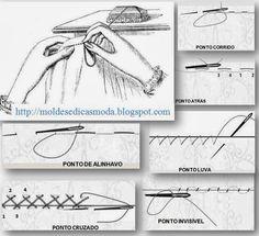 PONTOS DE COSTURA FEITOS À MÃO Para que está a dar os primeiros passos na costura os pontos de costura feitos à mão são importantes e essenciais. Tome aten