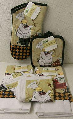 "Fat Chef ""Cooking"" Towel Pot Holder Oven Mitt Dish Cloth 4 PC Kitchen Set New | eBay"