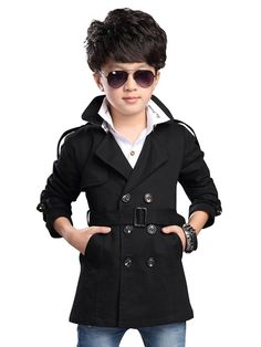 "Boys' Stylish Double Breasted Trench Coat Outerwear with Belt Black 140CM(55.1"") - 6-7Y. With Belt. Double breasted button closure. 2 hand pockets, middle long. Shoulder/ cuff epaulets, traditional British style trench coat blazer. Model in image height 115CM/42.5, wears tag 120CM (4T), if your kids grow up fast or higher/stronger than normal, we suggest you can buy 1 size up, please refer to the size chart."