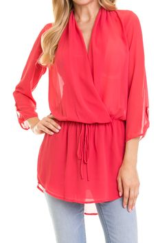Solid Surplice Top With Waist Tie Detail-Coral $28
