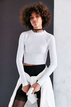 Silence + Noise Beverly Thermal Crop Top - Urban Outfitters