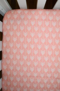 Crib sheet in coral pink arrows - girls fitted crib sheet in pink vanes - aztec, tribal, navajo themed soft sheet