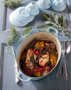 chicken with peppers. Limoncello & Linen Water. Tessa Kiros