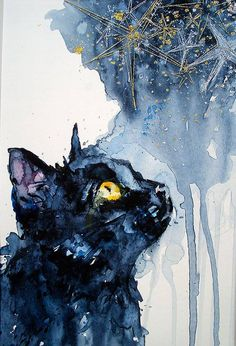 Karen Grenfell - Mimilove Forever - Black Cat Watercolour with Gold and Silver Embroidery Thread