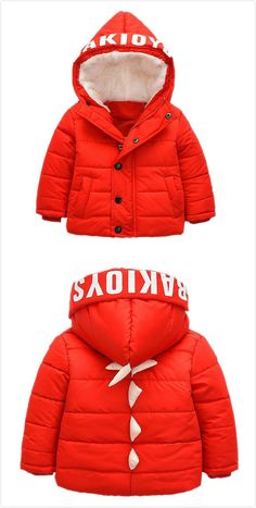 Cute Unisex Toddler Dinosaur Hooded Down Sweater Warm Winter Outerwear Red