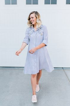 pinstripe embroidered dress + pink blush slip on sneakers Diy Fashion, Womens Fashion, Fashion Ideas, Sewing Clothes, Slip On Sneakers, Pink Dress, Fall Outfits, Style Inspiration, Shirt Dress