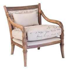 DAX-SIERRA New Story Hand Carved Armchair, Script Fabric