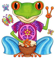 Peace Frog drawing by Thaneeya McArdle. This froovy frog is available as a B+W coloring page in Thaneeya's Hippie Animals Coloring Book! Funny Frogs, Cute Frogs, Hippie Peace, Happy Hippie, Hippie Life, Hippie Gypsy, Gypsy Soul, Trippy Drawings, Animal Drawings