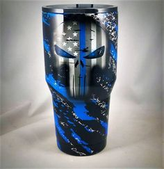 This Thin Blue Line Yeti Tumbler Skull Police Gifts Police Ozark Police Yeti Back The Blue Gifts American Flag SKull Yeti Tumbler Police cup is just one of the custom, handmade pieces you'll find in our water bottles shops. Vinyl Tumblers, Custom Tumblers, Glitter Cups, Glitter Tumblers, Gold Glitter, Ozark Tumbler, Tumblr Cup, Police Gifts, Blue Line Flag