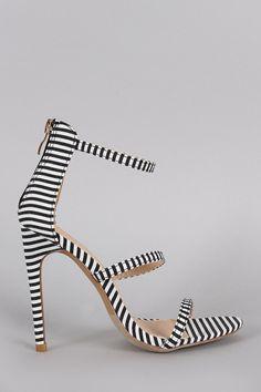 Liliana Striped Open Toe Triple Straps Single Sole Heel