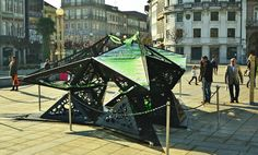 urban algae folly, algae architecture, biodigital algae structure, Praça da República, Braga, Praça da República urban algae folly, algae structure, algae folly produces protein equivalent of a cow, ecoLogic Studio algae