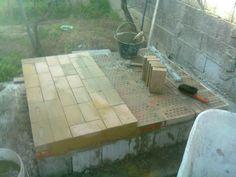Brick base and layer of refractory bricks Antoni Batzu 2014. Sardinia - Italy.