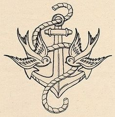 Thread Tattoos Anchor and Swallows Urban Threads: Unique and Awesome Embroidery Designs Craft Ideas tattoos picture urban tattoo designs Tatto Old, 1 Tattoo, Tattoo Drawings, Tattoo Bird, Tattoo Forearm, Trendy Tattoos, Cool Tattoos, Tatoos, Puzzle Tattoo