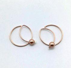 Rose Gold hoops Small hoops modern wire by waterleliejewellery