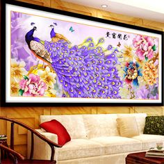 New 5d Diy Diamond Painting Peacock Peony Cross Stitch Diamond Embroidery Crystal Round Diamond Mosaic Pictures Home Decoration #Affiliate