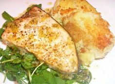 Pan-Roasted Swordfish with Lemon-Lime Drizzle and Golden Potatoes - Click for Recipe