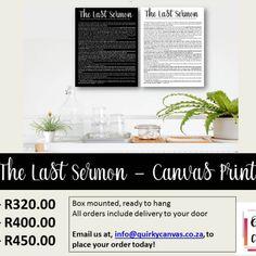 The Last Sermon - Canvas Print Canvas Prints, Lettering, Photo Canvas Prints, Drawing Letters, Brush Lettering