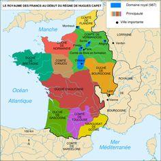 Le royaume de Robert Ile Pieux à la fin du X°s. — Au prix d'une longue lutte débutée en avril 1003 il conquiert le duché de Bourgogne qui aurait du revenir en héritage à la mort, sans descendance directe, de son oncle Henri I° de Bourgogne, mais que ce dernier avait transmis à son beau-fils Otte-Guillaume.