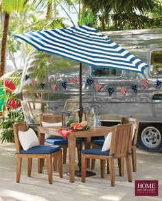 Celebrate Memorial Day weekend in style. An outdoor living space can be dressed up with these patio ideas. Try a striped Home Decorators Collection Auto-Tilt Patio Umbrella for an on-trend look and plenty of shade. Pair with the Home Decorators Collection Bermuda 5-Piece Patio Dining Set made of eucalyptus wood with comfy all-weather cushions. Your Memorial Day decor will be perfect for hosting family and friends and kicking off the summer in style. Shop at Home Decorators Collection.