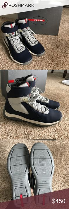 NWT Prada men's shoe Brand new, can't return, men's Prada high top, navy and silver. In stores now for $650. Size 11.5. Comes with box. Prada Shoes Sneakers