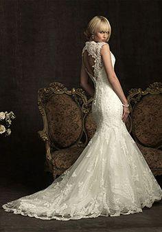 Elegant V-neck Trumpet Draping Lace Organza Wedding Dress picture 2