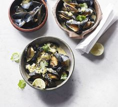 You can add any other seafood to this quick aromatic green curry - prawns can go in with the coconut milk and clams with the mussels