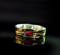 Ruby Mens Engagement Ring with Captured Ruby with Oxidized Silver and 18K Gold
