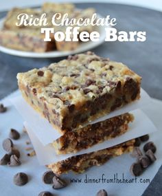 Rich Chocolate Toffee Bars | Easy, Delicious, Ooeey, Gooeey, Chocolate Chip, Sweetened Condensed Milk and Caramel Cookie Bars | Dinner from the Heart