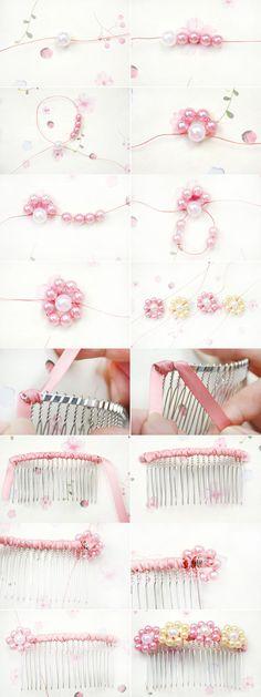 Crochet flowers headband hair clips 32 ideas - All For Bridal Hair Crochet Flower Headbands, Crochet Flowers, Wedding Hair Flowers, Flowers In Hair, Flower Hair Clips, Bead Jewellery, Hair Jewelry, Diy Hair Accessories, Wedding Accessories