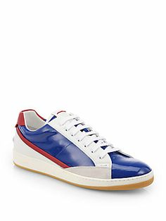 Fendi Patent Lace-Up Sneakers